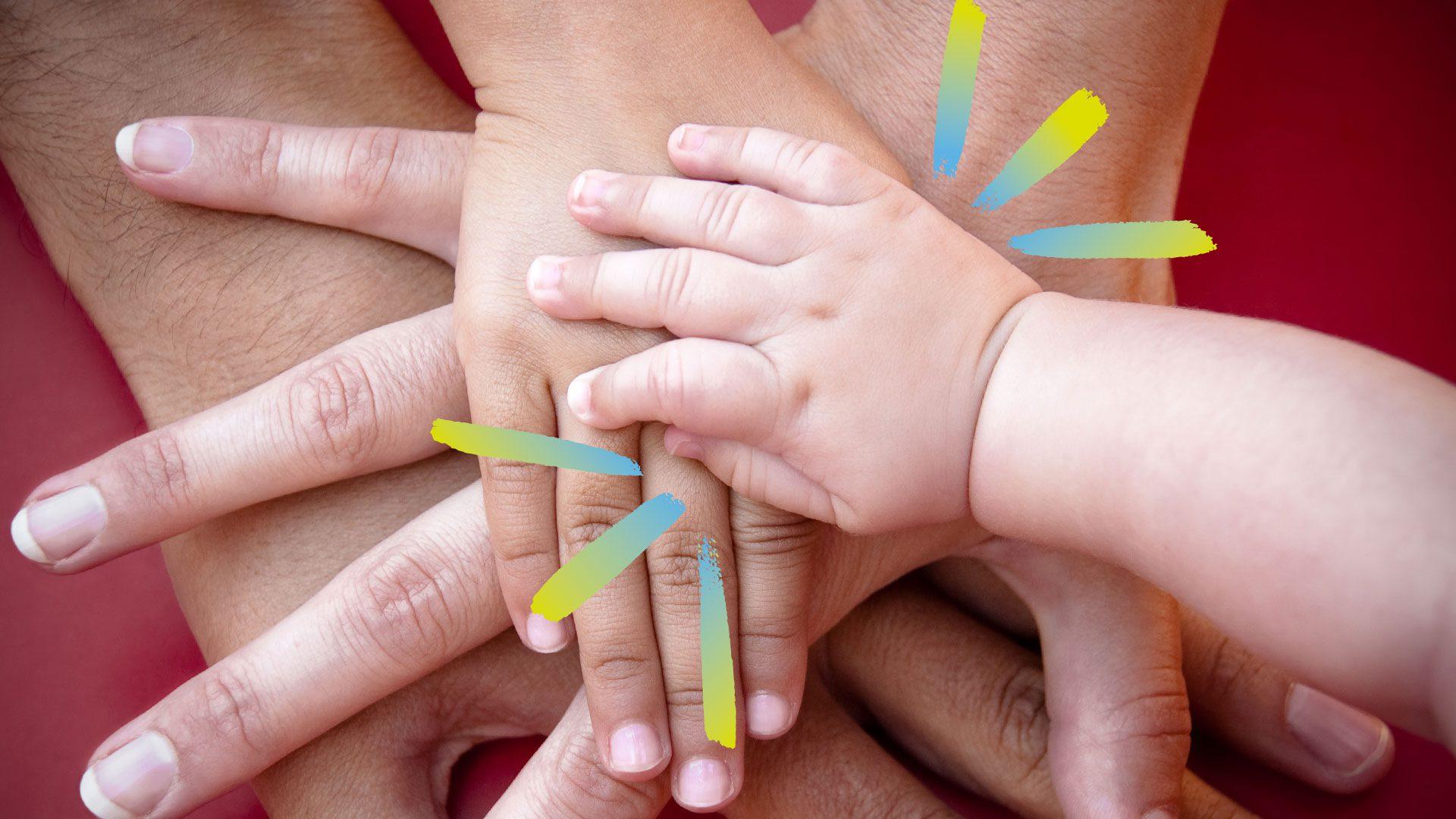 working together hands